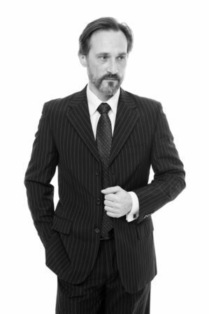 Smart suit. Perfect fit. Male fashion. Businessman broker formal suit. Handsome bearded man insurance agent. Successful business investor. Ceo concept. Reputable financial expert. Business life Фото со стока