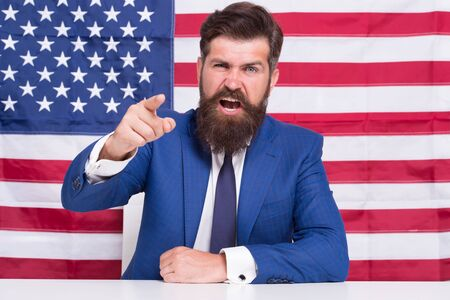he is true american. Patriotic spirit. angry man celebrate 4th of July. successful business trip to usa. explore america on vacation. 4th of July Independence day. work and travel in usa Foto de archivo