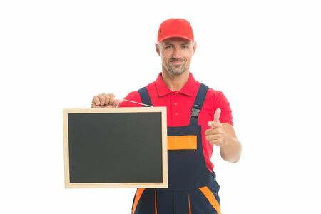 Planning a new construction. presenting useful information. man in overall with empty board. place for copy space. announcement concept. male construction worker with presentation