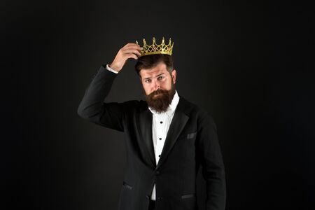 Best man on Earth. Achieving business success. Royal and luxury. Handsome worker. Glory seeking man. Power and triumph. Business king. Businessman wear crown. Business success concept. King of style