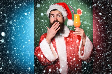 surprised bearded santa claus man Banco de Imagens