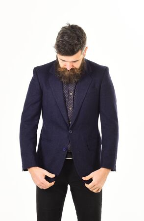 Hipster wears stylish formal suit. Fashionable suit.