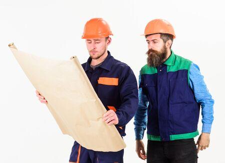 Construction plan concept. Builder, engineer, architect work