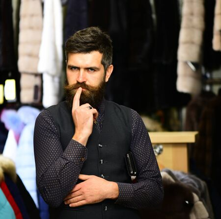 Elegance and style concept. Man with thoughtful face Фото со стока
