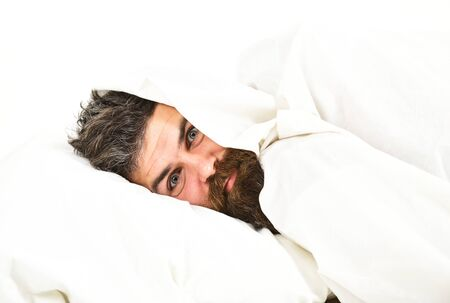 Weekend leisure concept. Man with wide opened eyes