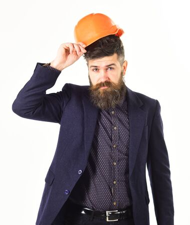 Building, inspection, profession concept. Builder or construction engineer with long beard.