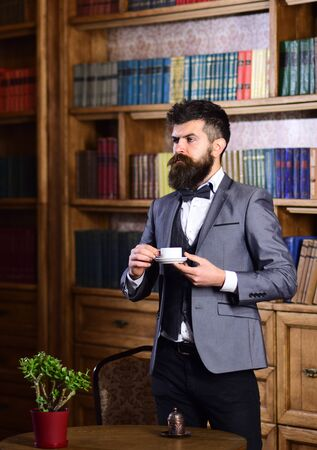 Fashion and style concept. Formal outfit, bow tie, vintage and male fashion Imagens