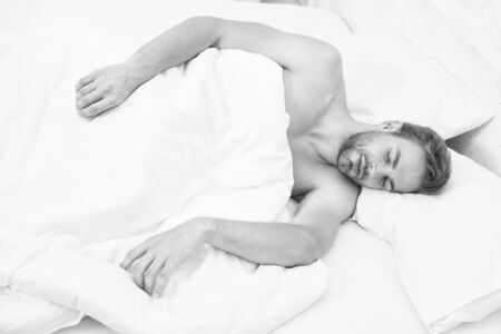 Enough amount sleep every night. Tips sleep better. Bearded man relaxing on pillow. Soft pillow. Health care concept. Circadian rhythm regulates sleep wake cycle. Man handsome unshaven guy in bed Banco de Imagens