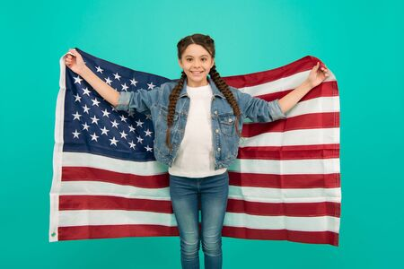 Independence day holiday. Americans celebrate independence day. Little girl with USA flag. Patriotic concept. 4 of July. Little american girl. National holidays. Independence celebration. Happy child