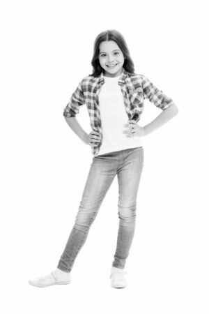 Loving her new style. Happy child in casual style isolated on white. Fashion and style. Fashion look of vogue model. Beauty and look. Her look always going to be in style 版權商用圖片