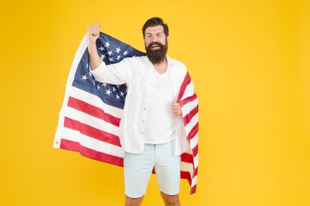 Got green card. American citizen celebrate Independence day. Happy hipster hold USA flag. Citizenship applicant. Citizenship and immigration. Citizenship status. Citizenship and naturalization