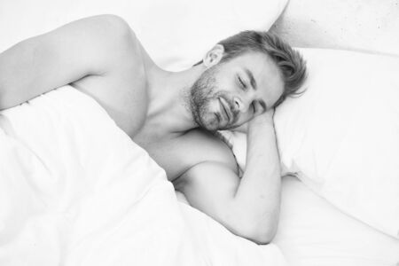 Too early. Good nap. Time to rest. male health and bachelor lifestyle. man fast sleep. Relaxing in bedroom. energy and tiredness. sexy man sleep in bed. Impossible to wake up. good morning