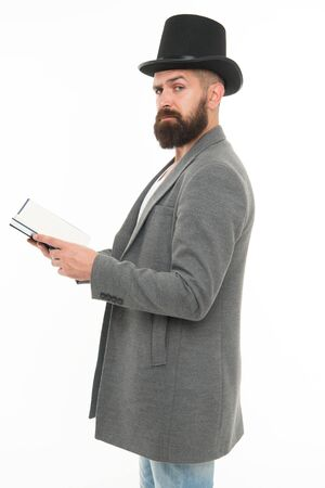 Recite verses. Poet or writer. Author of novel. Inspired bearded man read book. Poetry reading. Literature teacher. Guy read book. Literary criticism. Acting classes. Acting school. Practicing acting Stock Photo
