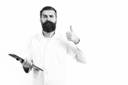 Bearded brutal caucasian doctor or postgraduate student Stock Photo