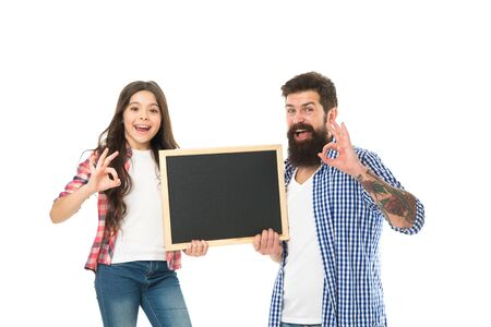 father and daughter hold blackboard. happy fathers day celebration. spend family day here. little girl with dad isolated on white. happy childhood. back to school. your advertising here