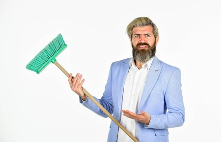 lets clean it. unemployment and business reduction. staff reductions concept. Cutting staff and jobs. business cost reduction concept. resource management. man hold broom. business and home