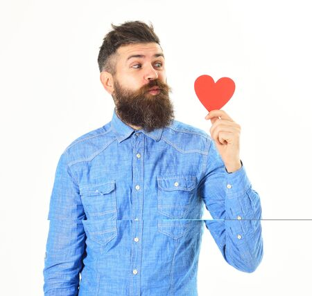 Valentines day concept. Man with happy face celebrates valentines day