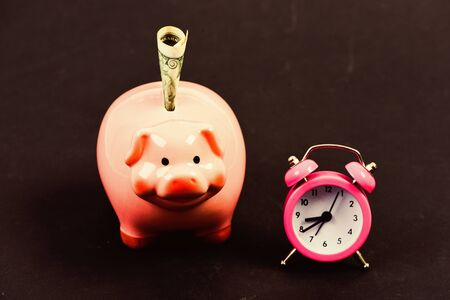 Piggy bank stuffed dollar cash and alarm clock. Financial crisis. Banking account. Bankruptcy and debt. Pay for debt. Bank collector service. Credit debt. Economics and finance. It is time to pay