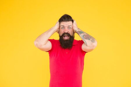 All is lost. Desperate looser yellow background. Crazy hipster feel lost. Bearded man hold head in frustration. Lost the game. Failed to win. Gambling and betting. Won some lost some