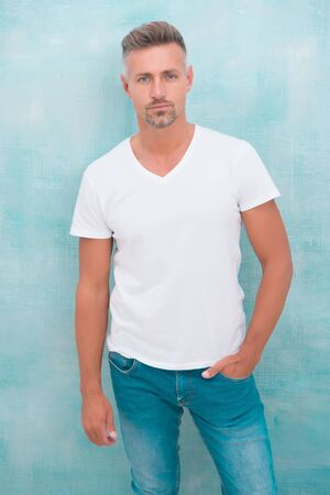 Menswear concept. Fashion clothes. Simple and comfy. From luxurious to affordable. Summer fashion. Mature man casual outfit. Fashion model. Handsome hipster wear white shirt. Summer collection Foto de archivo
