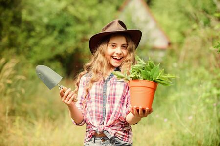 happiness. spring season. hellow summer. small girl planting with shovel. earth day. environment ecology. green nature protection. small girl farmer care about plant in pot. farming and agriculture