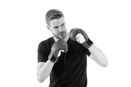 Defence skill. Sportsman boxer with gloves. Boxing concept. Man athlete boxer concentrated face with sport gloves. Boxer practice fighting skills isolated white. Boxer handsome strict coach Archivio Fotografico
