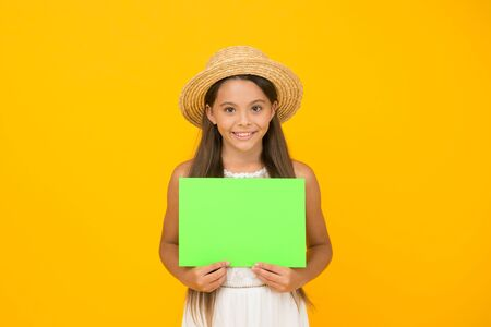 Effective advertising. Girl straw hat. Advertisement concept. Promoting tourism. Bright advertisement. Need your attention. Join event. Summer sales. Happy girl hold poster copy space. Vacation time