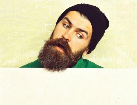 bearded man posing on studio wall background Banco de Imagens