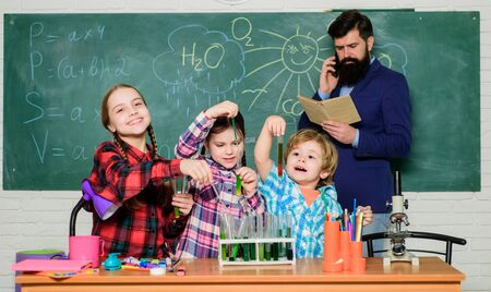 Group interaction and communication. Promote scientific interests. Practical knowledge. Elementary school clubs list and themes. School club education. Chemistry themed club. Topic of our club Stock fotó