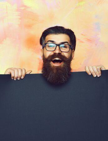 Bearded man, brutal caucasian hipster with moustache in glasses Banco de Imagens
