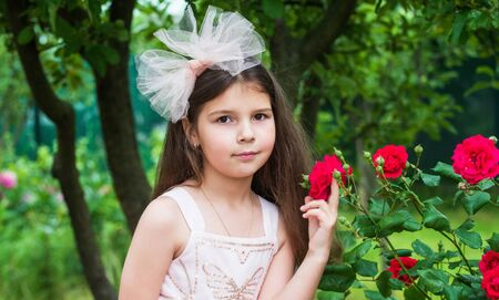 small girl with bow in hair. little beauty in white dress. wedding angel kid. child enjoy rose flower in park. spring blooming tree. summer nature. female hairdresser fashion Фото со стока