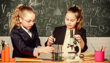 Gymnasium students with in depth study of natural sciences. Private school. Knowledge crossroads molecular biology and chemistry. School project investigation. School experiment. Science concept Фото со стока - 150297488
