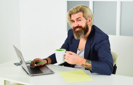 Social networks communication. Comfortable workplace. Developer work computer. Social distancing. Home is best office. Online education. Freelancer working from home. Man working on laptop at home Stockfoto
