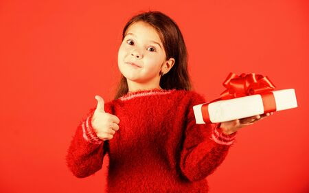 seasonal shopping discount. small girl perfect santa present. big christmas sale. child hold gift box. boxing day concept. all i dream about. happy new year. winter holiday and xmas joy