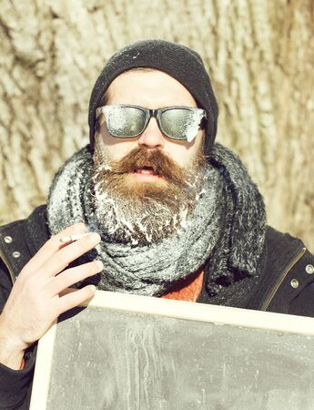 winter bearded man with board 版權商用圖片