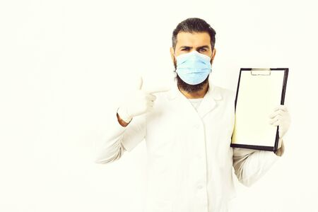 Bearded brutal caucasian doctor or postgraduate student Banco de Imagens