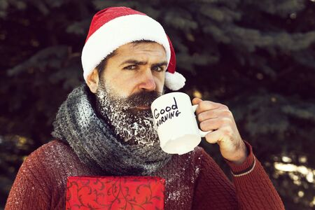 Handsome santa drinks from cup