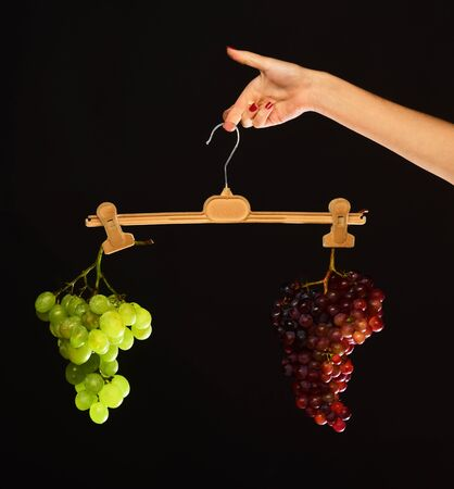 Winemaking and weight loss concept. Female hand holds hanger 免版税图像