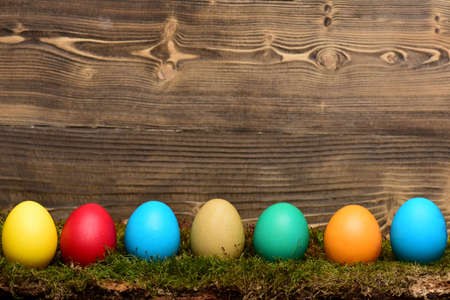 painted easter colorful eggs with green moss on wooden background Stok Fotoğraf