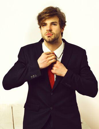 Caucasian stylish business man with moustache in elegant black suit