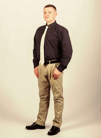 Man regular caucasian appearance wear formal clothes. Male fashion store. Businessman lecturer manager office worker. Formal style clothing. Corporate and formal. Boss director head of department