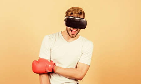 Sport is our life. modern gadget. Training boxing game. vr boxing. future innovation. man in VR glasses. Futuristic gaming. boxing in virtual reality. Digital sport success. man use new technology.