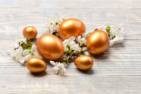 easter golden eggs, spring cherry or apricot flowers on wood