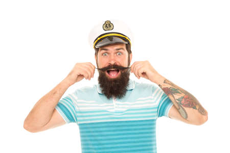 Huge surprise. Surprised sailor twirl moustache with mouth open. Barbershop. Bearded man get emotional surprise. Surprising news. Surprise adventure. Sea travel. Vacation. Surprise someone with trip