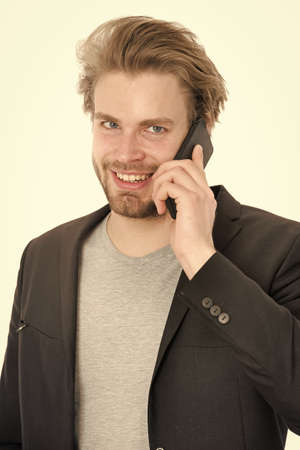 happy businessman or guy with mobile phone Stockfoto