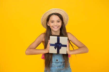I deserve celebration. Happy child celebrate holiday. Little girl hold present box. Birthday celebration. Anniversary celebration. Holiday celebration. International childrens day. Summer season Stok Fotoğraf