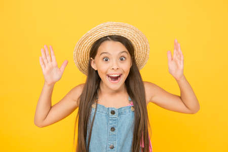 Crazy about summer. True happiness. small girl wear straw beach hat. fashion and beauty. childhood happiness. happy childrens day. beauty style of hot season. summer weather forecast. vacation time
