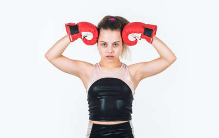 show her biceps. teen girl boxer. sportswear and equipment shop. healthy lifestyle. energetic kid power. child workout isolated on white. small girl training in boxing gloves. sport and fitness