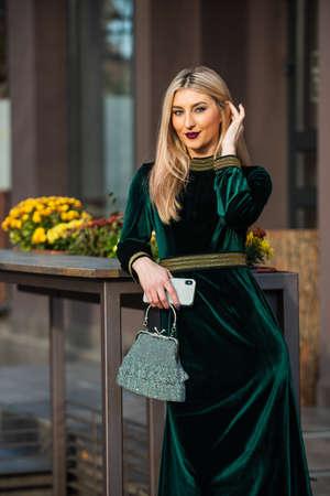 businesswoman wait for meeting outdoor.