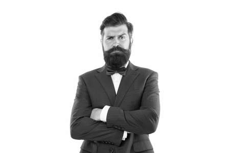 male fashion model posing. Handsome brunette model with beard and moustache. Business man portrait. Perfect suit. bearded man in expensive suit. Handsome young businessman. Business Suits for Men Stock Photo